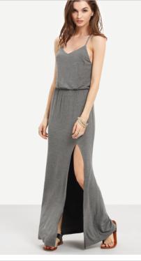 robe dos fendu sans manche - gris