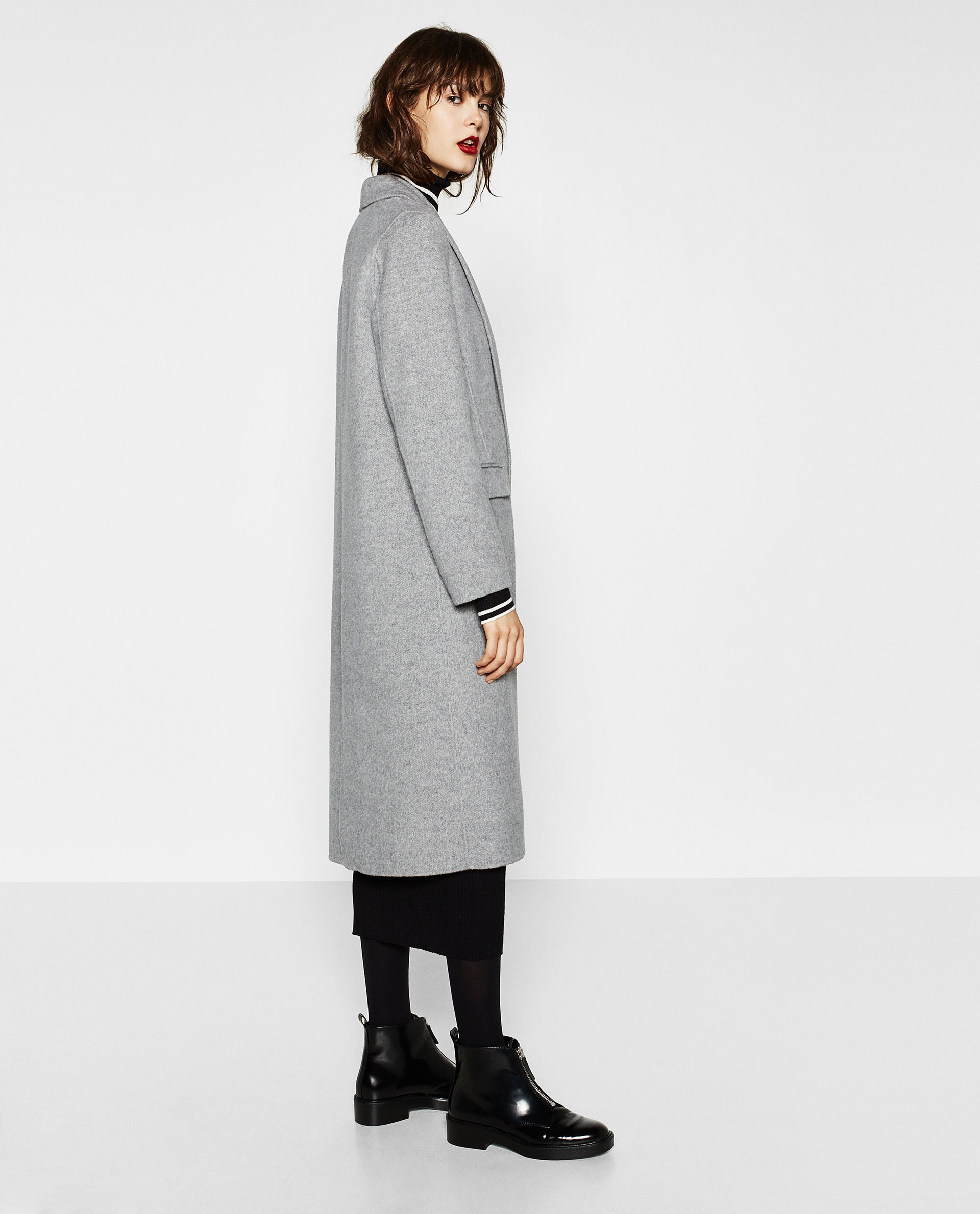 Manteau zara gris long
