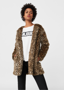 MANTEAU FOURRURE SYNTHETIQUE - COLORIS LEOPARD - MANGO - 69,99 EUROS